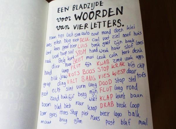 Dare to Wreck - Wreck this Journal - een bladzijde voor woorden van vier letters