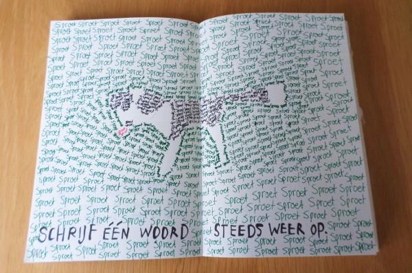 Dare to Wreck - Wreck this Journal - schrijf één woord steeds weer op