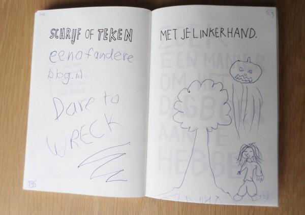 Dare to wreck, Wreck this Journal, schrijf of teken met je linkerhand
