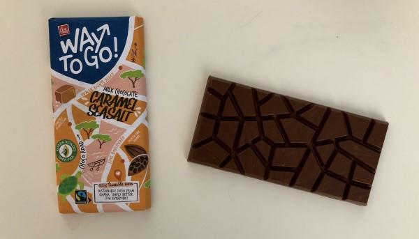 Karamel-zeezout-chocolade-test, Way To Go karamel-zeezout chocola Lidl, Tony's dupe, goedkope karamel-zeezout chocola