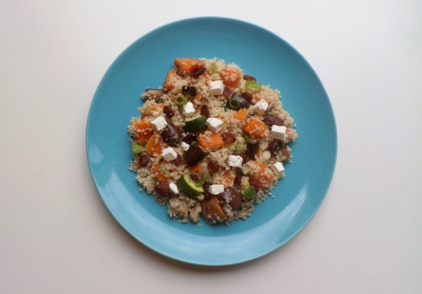 Recept couscous met pompoen uit de oven, aubergine, courgette, couscous met ovengroenten en feta