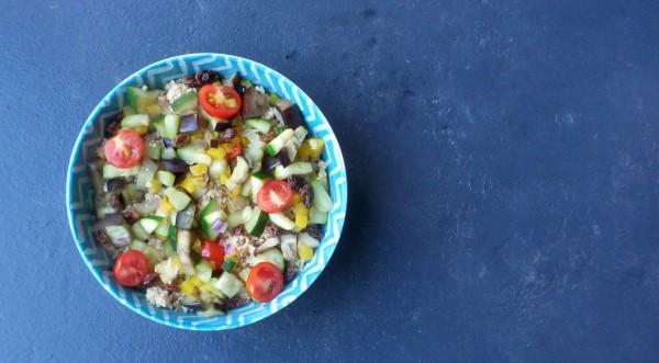 Recept couscous veel groenten, rozijnen, courgette, aubergine, paprika, cherrytomaatjes, licht recept, gezond couscous recept
