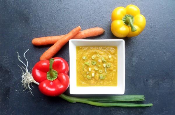 Recept vegan pompoen-paprikasoep zonder zout en zonder bouillonblokjes (maar mét smaak!), herfstige pompoensoep, welke kruiden in pompoensoep