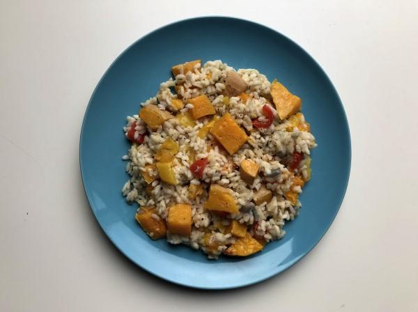 Recept vegetarische risotto met flespompoen uit de oven, risotto met paprika en pompoen