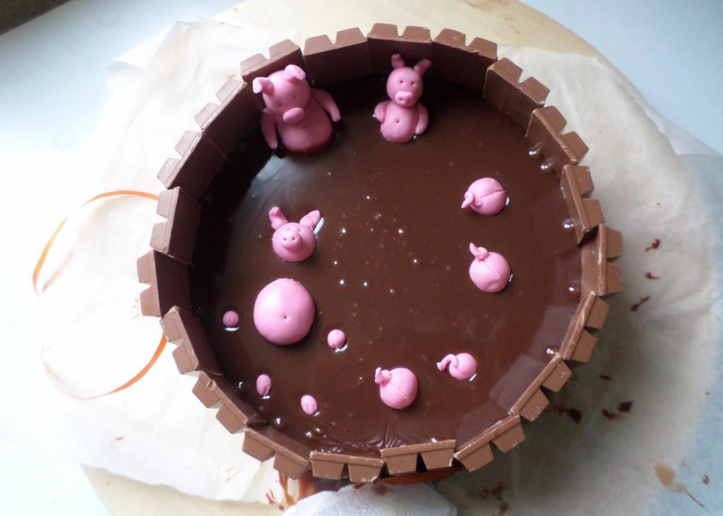 biggetjes in de modder-taart recept hoe veel kitkats heb je nodig